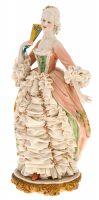 """Статуэтка  Porcellane Principe """"Дама с веером""""  цветная"""