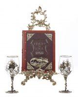 """Набор бокалов для вина """"Цветок"""" с подарочной книгой """"Вино и еда"""""""