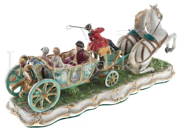 "Скульптура  Elite & Fabris ""Открытая карета запряжённая парой лошадей"" - 1"