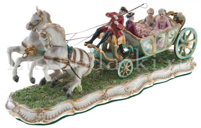 "Скульптура  Elite & Fabris ""Открытая карета запряжённая парой лошадей"" - 0"