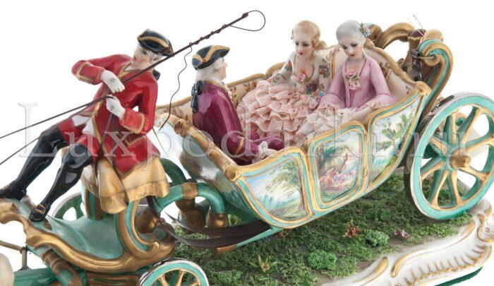 "Скульптура  Elite & Fabris ""Открытая карета запряжённая парой лошадей"" - 3"