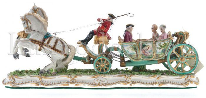 "Скульптура  Elite & Fabris ""Открытая карета запряжённая парой лошадей"" - 2"