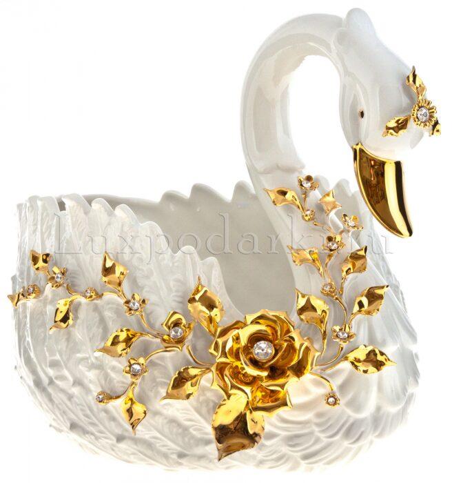 """Ваза для фруктов  Bruno Costenaro """"Лебедь"""" , золотого цвета- 1"""