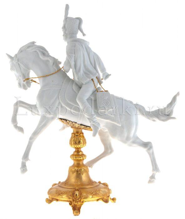 """Скульптура  Tiche """"Гусар на коне"""" , цвет: белый- 2"""