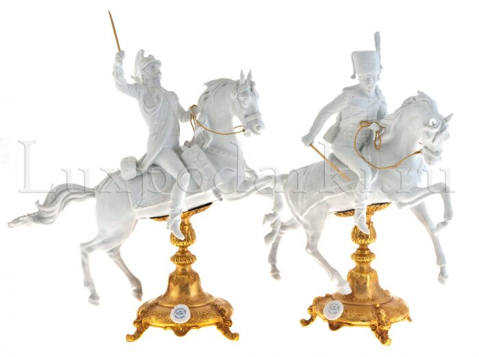 """Скульптура  Tiche """"Гусар на коне"""" , цвет: белый- 4"""