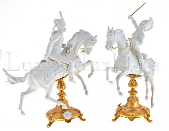 """Скульптура  Tiche """"Гусар на коне"""" , цвет: белый- 3"""