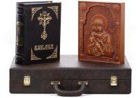 Библия с иконой Владимирской Божьей Матери