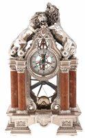 """Часы  Linea Argenti """"Львы""""  серебряного цвета со св. коричневыми колоннами"""