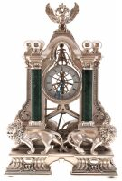 """Часы  Linea Argenti """"Львы"""" , механические, цвет: серебряный с зелеными мраморными колоннами и гербом"""
