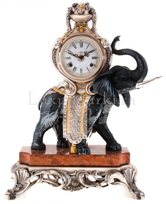 """Каминные часы с  Linea Argenti """"Черным слоном""""  на мраморной подставке- 0"""