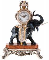 """Каминные часы с  Linea Argenti """"Черным слоном""""  на мраморной подставке"""