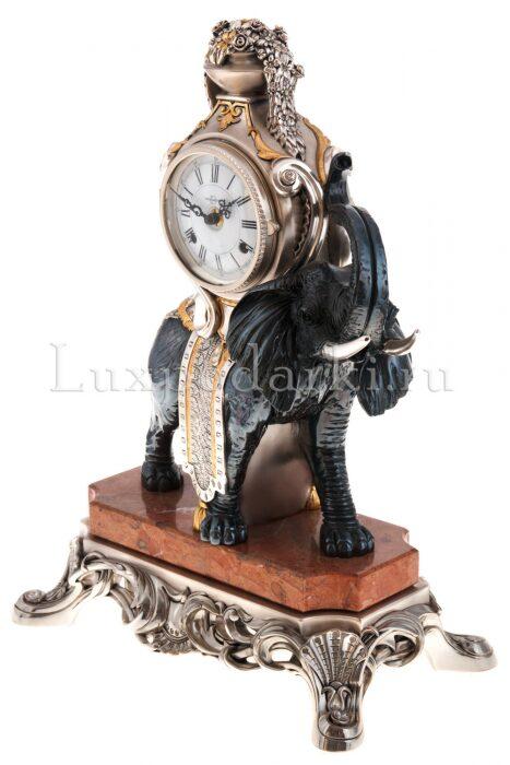 """Каминные часы с  Linea Argenti """"Черным слоном""""  на мраморной подставке- 1"""