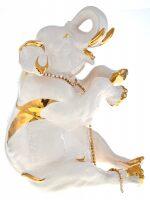 """Статуэтка  Ahura """"Сидящий слон""""  большая, цвет: белый"""