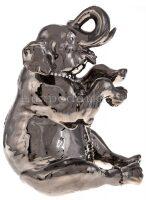 """Статуэтка  Ahura """"Сидящий слон""""  большая, цвет: платиновый"""