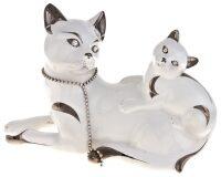 """Статуэтка  Ahura """"Кошка с котёнком"""" , цвет: белый с платиной"""