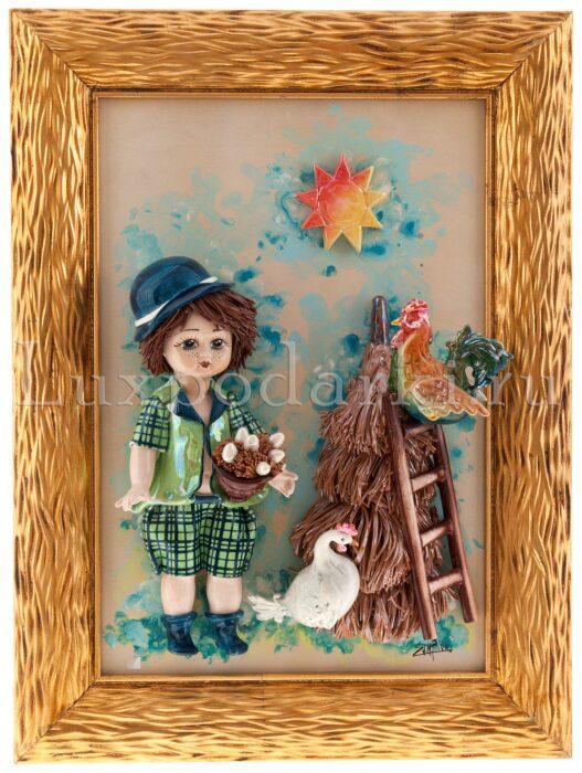 """Картина прямоугольная  Zampiva """"Кукла-мальчик держащий гнездо"""" - 0"""