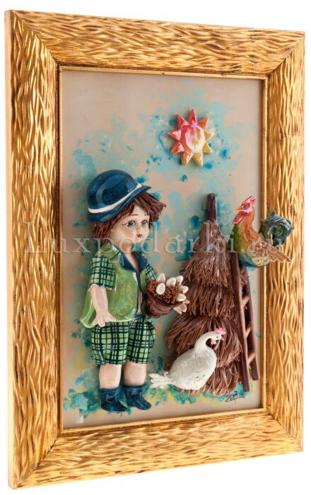 """Картина прямоугольная  Zampiva """"Кукла-мальчик держащий гнездо"""" - 1"""