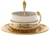 "Набор для чая на 1 персону  Chinelli ""Собака""  в золоте"