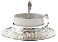 "Набор для чая на 1 персону  Chinelli ""Собака""  в серебре"