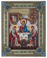 """Икона """"Святая Троица"""" (финифть)"""