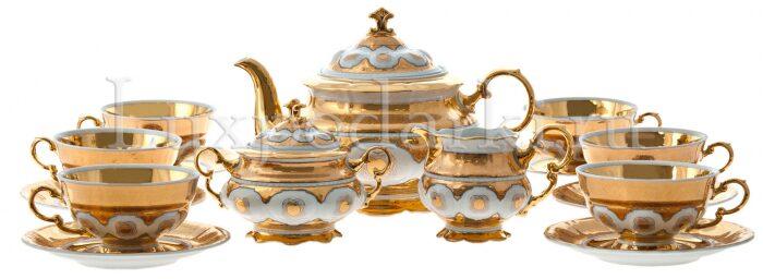"""Чайный сервиз  Rudolf Kampf """"Египет""""  на 6 персон, белое золото"""