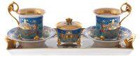"""Подарочный чайный набор  Rudolf Kampf """"Tete-a-tete""""  бирюзовый с золотом"""