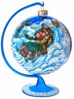 "Ёлочный шар на подставке ""Катание на санях"" синий"