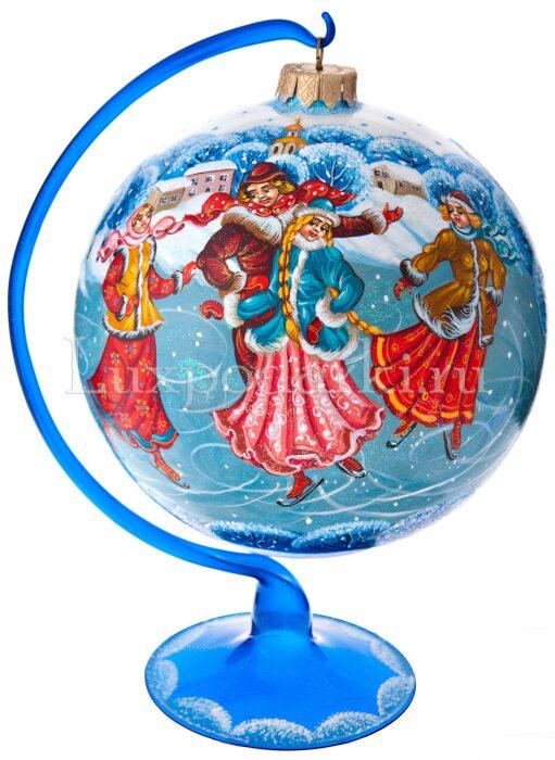 """Ёлочный шар """"Катание на коньках"""" на подставке"""