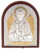 Серебряная с золочением икона Ангела Хранителя 7 x 8,5 см