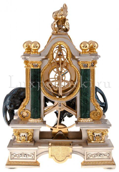 """Часы  Linea Argenti """"Два чёрных тигра""""  с зелёными колоннами- 3"""