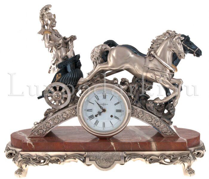 "Часы  Linea Argenti ""Колесница""  на мраморной подставке- 0"
