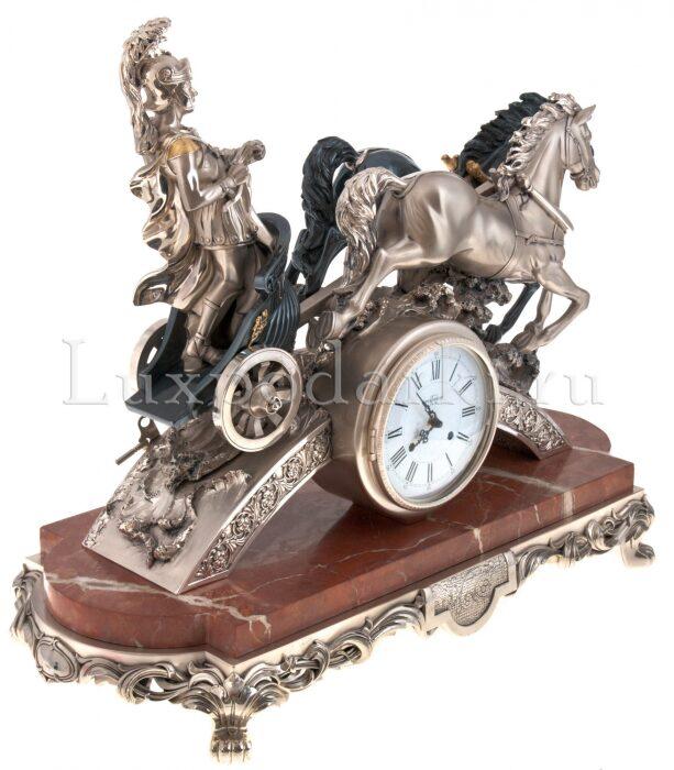 "Часы  Linea Argenti ""Колесница""  на мраморной подставке- 1"
