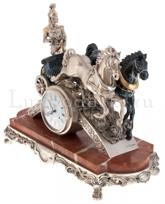 "Часы  Linea Argenti ""Колесница""  на мраморной подставке- 3"