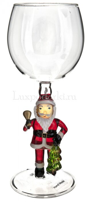 "Бокал для вина ""Дед Мороз с колокольчиком""- 0"