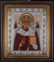 """Икона """"Николай Чудотворец Святитель"""" золотой декор с камнями"""