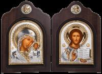 """Икона-диптих """"Божья Матерь Казанская и Христос Спаситель"""" посеребрение с камнями"""