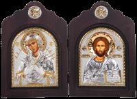 """Икона-диптих """"Божья Матерь Семистрельная и Спас Вседержитель"""" посеребрение с камнями"""