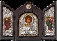 """Икона-триптих """"Ангел Хранитель"""" посеребрение с камнями"""