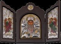 """Икона-триптих """"Святой Николай"""" посеребрение с камнями"""