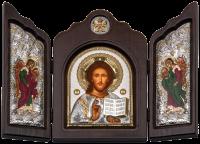 """Икона-триптих """"Христос Спаситель"""" посеребрение с камнями"""