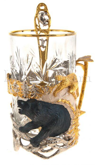 "Подстаканник ""Зимняя охота на медведя"" (Златоуст)- 0"