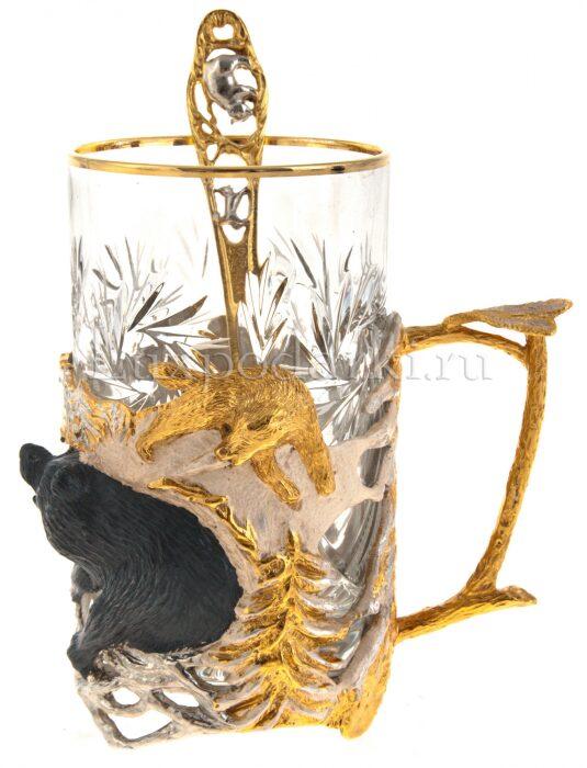 "Подстаканник ""Зимняя охота на медведя"" (Златоуст)- 1"
