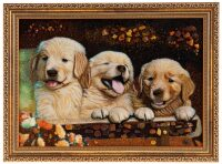 """Картина из янтаря """"Трио ретриверов"""""""