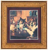"""Картина на сусальном золоте """"Собаки играющие в покер"""""""