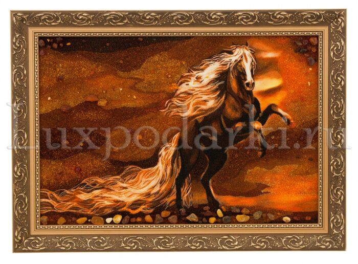 """Картина из янтаря """"Белогривый конь""""- 0"""