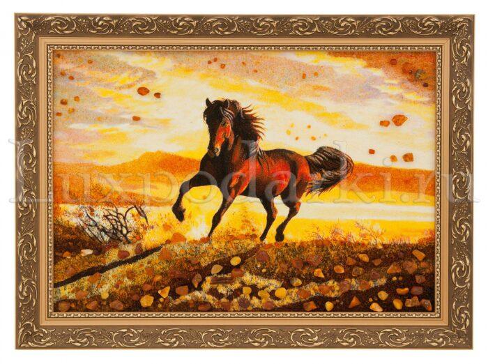 """Картина из янтаря """"Лошадь"""" (закат)- 0"""