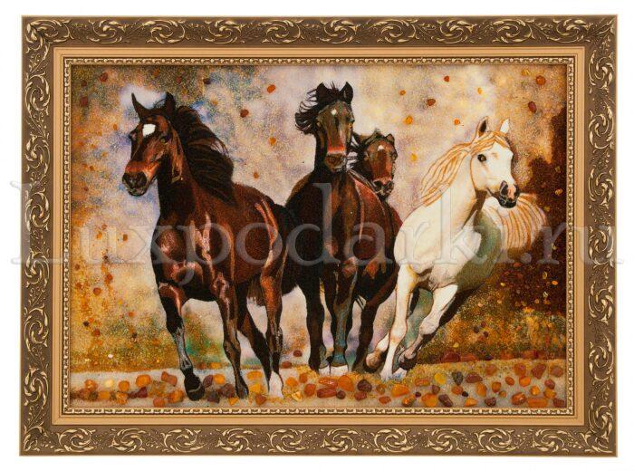 "Картина из янтаря ""Бегущие лошади""- 0"