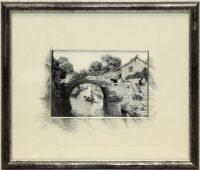 """Картина на шёлке """"Пейзаж с мостиком"""""""