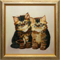 """Картина на шёлке """"Два пушистых котенка"""""""