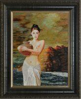 """Картина на шёлке """"Девушка у моря"""""""